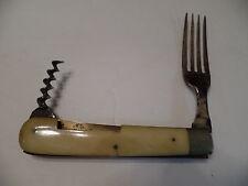 Awesome Civil  War Era  Bone Pocketknife Combination Fork and Corkscrew.