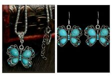 Turquoise Butterfly Necklace and Earrings Set, Antique Silver Vintage Style
