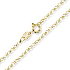 """375 9CT GOLD BELCHER CHAIN 16"""" 18"""" 20"""" SOLID YELLOW ROUND LINK PENDANT NECKLACE"""