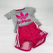 Adidas Originals Baby Girls T-Shirt & Shorts Set Grey & Pink 6-9 Month Baby