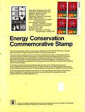 1974 SCOTT 1547 Energy Conservation 10¢ MNH OG PB Stamp Poster Bulletin