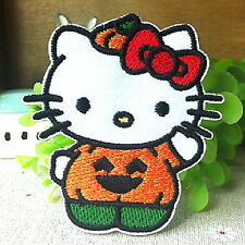 Qutie Hello Kitty Halloween Pumpkin Cartoon Appliques Embroidery Iron on Patch