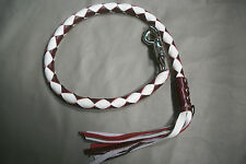 biker whip getback motorcycle whip USA made DEEP BURGANDY & WHITE!! BY Stitch