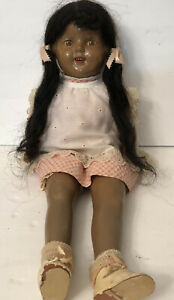 Doll Vintage Composition Open Shut Eyes Black Americana 21 inch