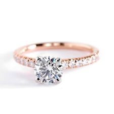 0.90 Ct SI2 F Round Brilliant French Diamond Pave Engagement Ring 18K-Rose Gold