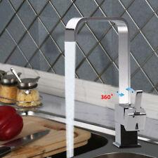 Modern Mono Kitchen Mixer Tap Chrome Square Single Lever Swivel Waterfall Spout