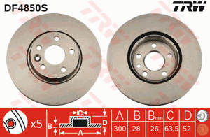 TRW Brake Rotor Front DF4850S fits Volvo S80 2.4 D5 (AS), 2.4 D5 AWD (AS), 3....