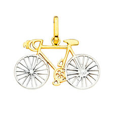 14K Solid Gold 2-Tone Bicycle Bike Pendant