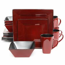 Red Square Dinnerware Set Dishes Black  Kitchen Everyday Use 16 Piece Modern New