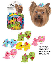 50pc STRAWBERRY DOTS SUMMER DIXIE SATIN RIBBON BOWS w/Band DOG Grooming Top Knot