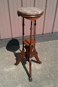 Antique Victorian Walnut Claw Footed Marble Top Plant or Candle Stand Two Tiers