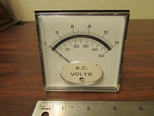 Beede Panel Meter AC Volts 0 - 15 Square 3-inch White Mirrored Face