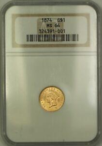 1874 $1 Liberty Gold Coin NGC MS-64 Very Choice BU KRC
