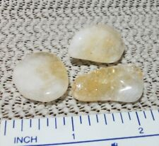 Citrine Quartz - pack of 3 tumbled polished meditation stones in pouch ~j513