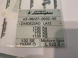NOS 1994 Lamborghini Diablo 30th Edition SE Homologation Chassis ID Data Plate