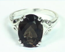 Quartz (smokey) Natural Genuine Gemstone Sterling Silver Ring RSS,449