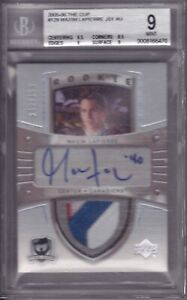 2005-06 The Cup Maxim Lapierre RC Rookie Autograph Patch (3xColor) BGS 9  #d/199