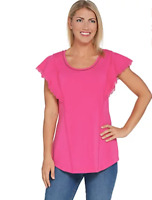 Isaac Mizrahi Live! Flutter Sleeve Knit Tunic with Lace Trim - Perfect Pink- XXS
