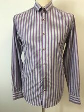 Mens purple, green & white striped long sleeve shirt by Ted Baker. Size L. Ted 4