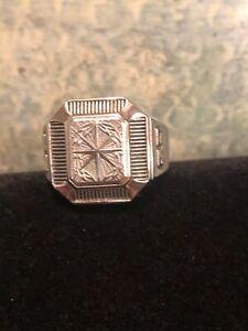 Vintage Etched Starburst Design Stainless Steel Style Signet Ring GO Sides *10.5