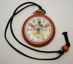 Bradley Disney Mickey Mouse Pocket Watch Plastic Red Case Runs Mechanical Vtg