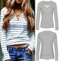 Womens Striped Blouse Lace Up Long Sleeve T shirt Ladies Casual Loose Tops Tee