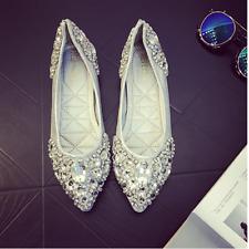 Womens Lady Pointed Toe Wedding Shoes Flat Shiny Rhinestone Bridal Shoes Slip On