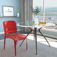 LeisureMod Murray Mid-Century Molded Stackable Lucite Dining Side Chair in Red