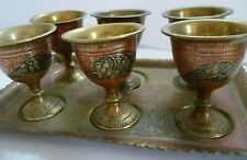 More details for antique egg cups indian painted brass egg cups full set antique original - rare