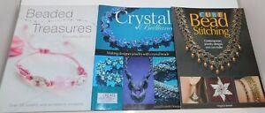 Lot of 3 Books BEADING Beads Crystal Jewelry Making Patterns Projects Stitching