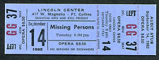 1982 Missing Persons unused full concert ticket Ft. Collins CO Spring Session M