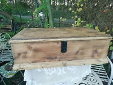 Victorian Stripped Waxed Pine Toy Box Chest Storage Cast Iron Lock Handle Holds