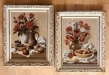 Vintage Pair Paint By Number Still Life Pictures Roses Fruit Wine MCM 1960s