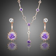 New Party 18K GOLD GP Made With SWAROVSKI Elements EARRINGS NECKLACE SET 193