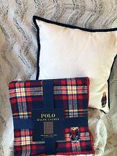Polo Ralph Lauren Plaid Bear Pillow & Blanket Limited Edition 2018 Polo Bear
