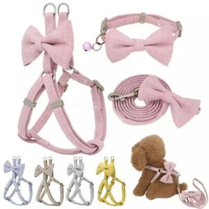 Small Dog Cat Harness collar and Walking Lead Set Pet Puppy cute S M bow