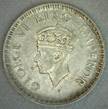 1944 L India-British Silver 1/4 Rupee Coin AU Almost Unc George VI