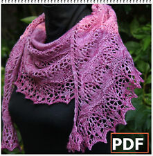 PDF Pattern: Hand Knitted Lace Shawl/Wrap Blooming Sakura Shawl