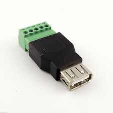 USB 2.0 Type A Female to 5 Pin Screw with Shield Terminal Plug Adapter Connector