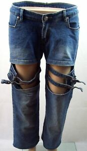 Tweak Straight Leg Stretch Jeans with Buckled Knee Openings - Womens Size 10
