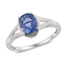 Natural Fluorite Solitaire Split Ring Platinum Plated Brass (Size 8.0) 2.25 ctw