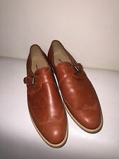 NEW JCREW CHARME LEATHER MONK STRAP HARRISON LOAFERS Dark Cognac Brown SZ 7 RARE
