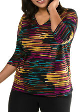 Ulla Popken ladies t-shirt tunic plus size 28/30 striped abstract 3/4 sleeve