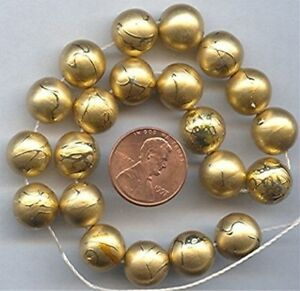 50 VINTAGE ACRYLIC GOLD DRIZZLE 11mm. ROUND BEADS G294