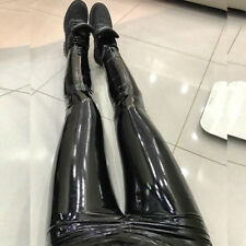 Women Pu Latex Wet Look Leggings Pants High Waist Vinyl Disco Trousers Clubwear