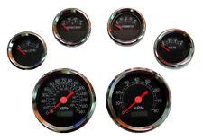 6 Gauge set, Speedo, Tacho, Oil,Temp,Fuel,Volt, black/chrome, blue LED, 043-BC
