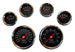 6 Gauge set, Speedo, Tacho, Oil,Temp,Fuel,Volt, black/chrome, blue LED, 043-BC