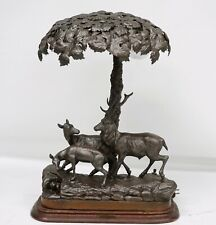 "RARE ANTIQUE FRENCH LAMP WITH STAG & FAWN  ""SOUS BOIS"" (FOREST FLOOR)"