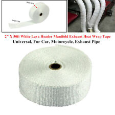 "2"" X 50ft White Lava Header Manifold Exhaust Heat Wrap Tape For Car Motorcycle"