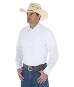 NWT Wrangler Western Snap Shirt - Long Sleeve Solid Broadcloth (LT) White